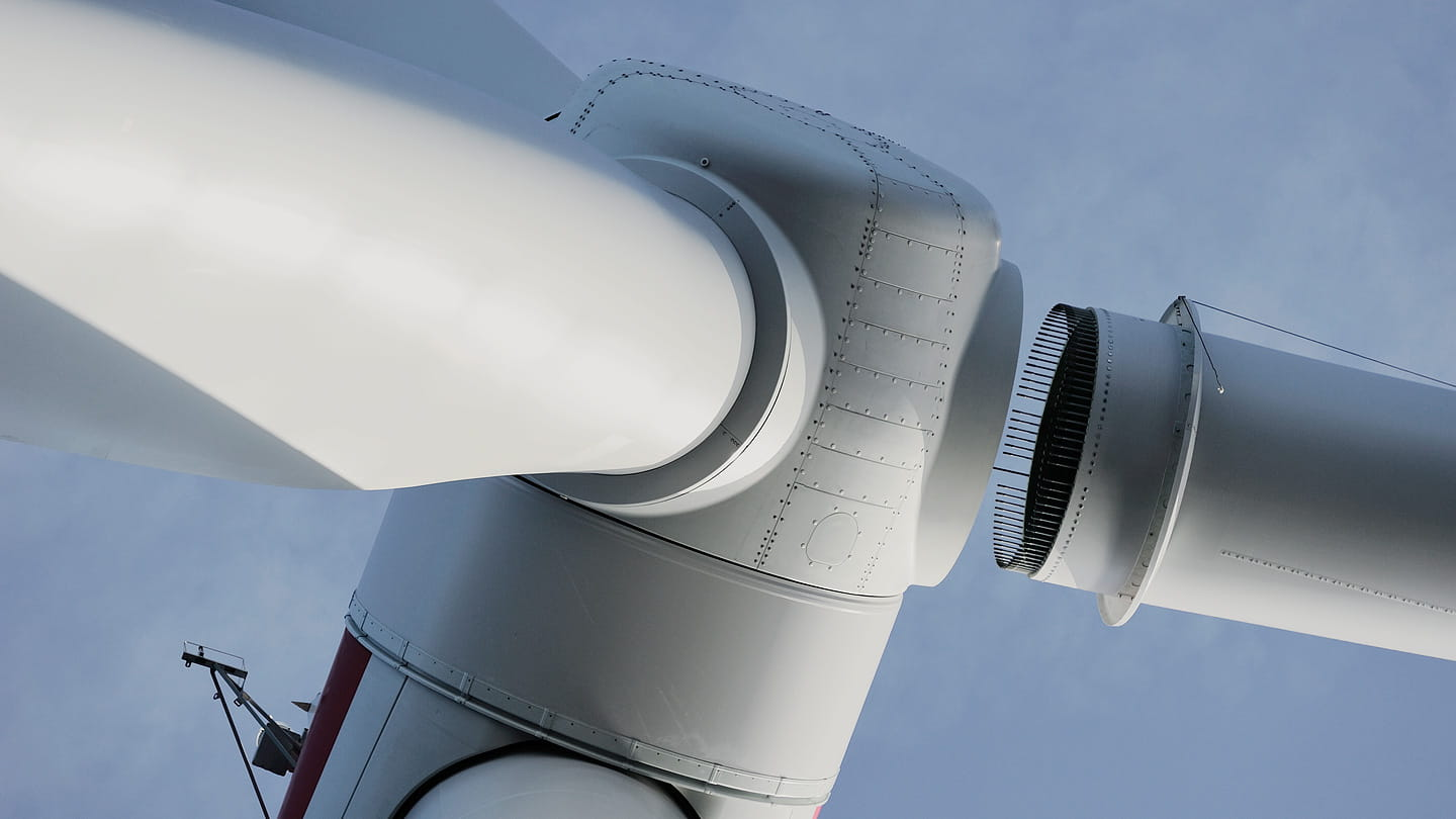 Wind turbines close up