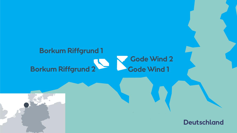 Standort der Windparks in der Nordsee