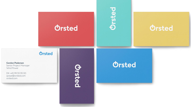 Ørsted visitkort viser de nye design farver