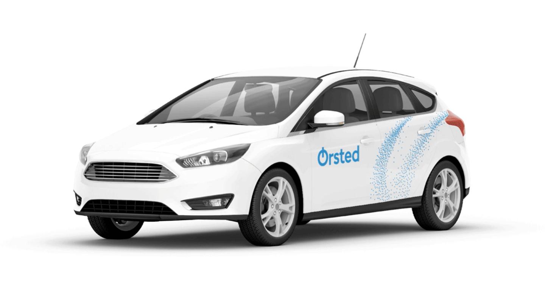 Car with company logo