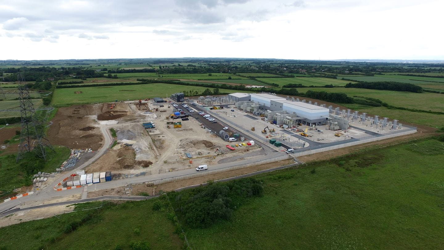 Aerial shot of North Killingholme site showing the Hornsea One substation and the adjacent land whereby preparatory works for Hornsea Two'ds substation have already begun
