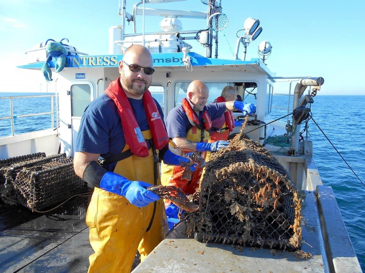 Scientists from the Holderness Fishing Industry Group work on the MV Huntress in Westermost Rough Offshore Wind Farm