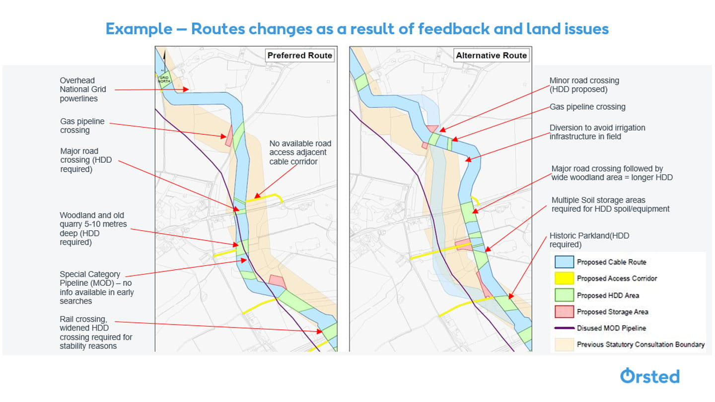 Map of route changes as a result of feedback and land issues