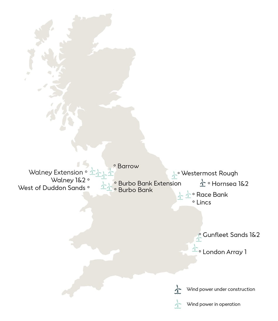 Orsted UK offshore wind farm map
