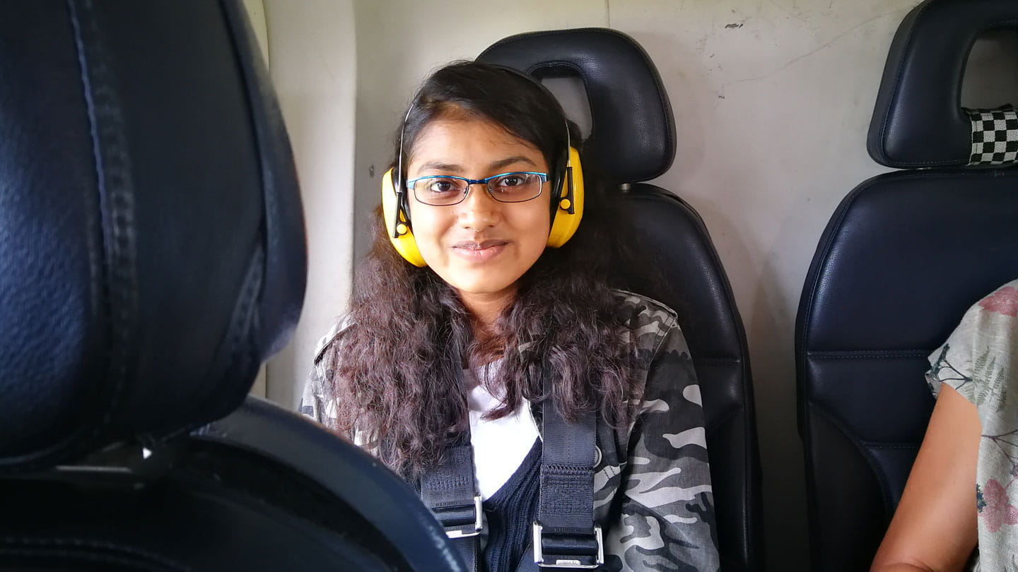 Cynthuja Ramanan on helicopter