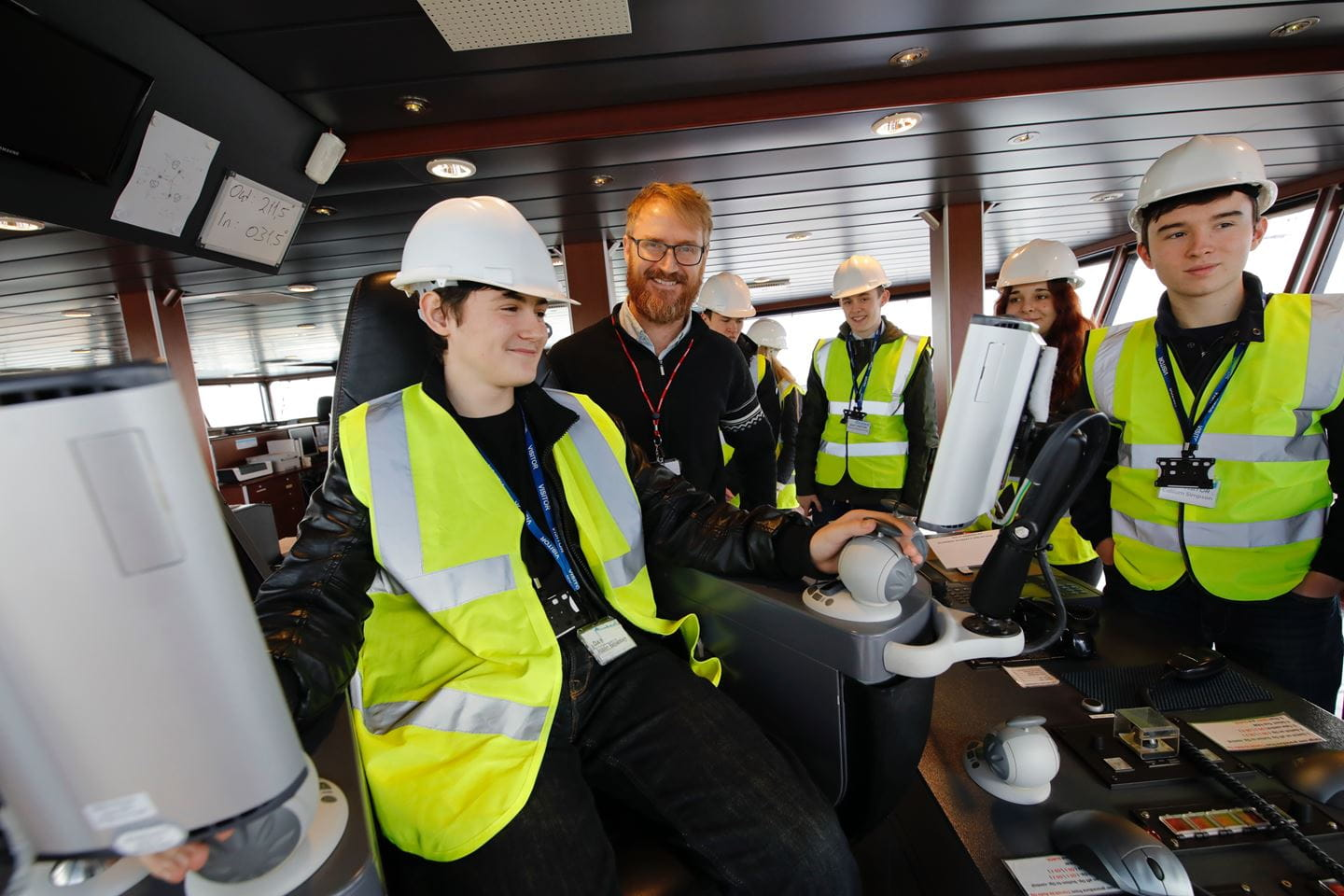 Students on Safety Operations Vessel
