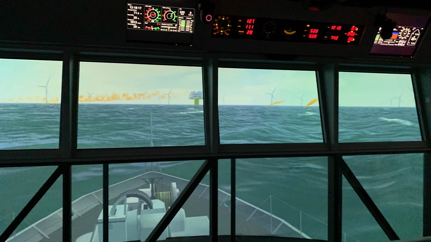 Viewing an offshore wind farm from a wheelhouse